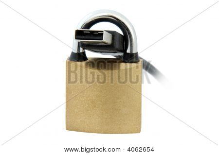 Usb Cable And Padlock