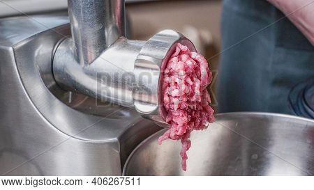 Cooking Minced Pork In An Electric Meat Grinder. Meat Grinder With Freshly Ground Meat.