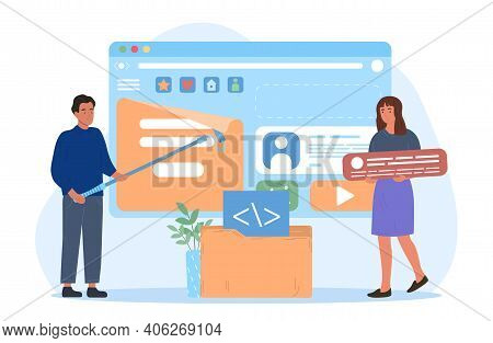 Male And Female Characters Are Creating Web Content. Man And Woman Are Filling Web Page With Documen