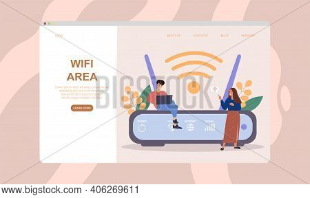 Male And Female Characters Are Using Wifi Next To Wifi Router. Concept Of Better Internet Coverage A