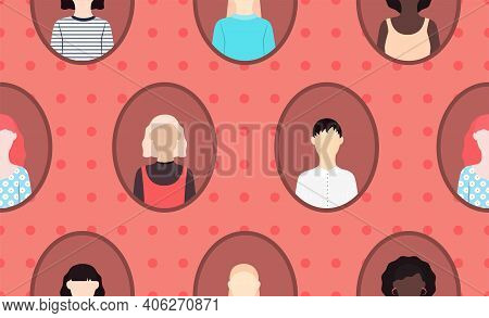 Sisterhood Seamless Vector Pattern In Flat Design Portraits In Frame With Different Women On Red Bac