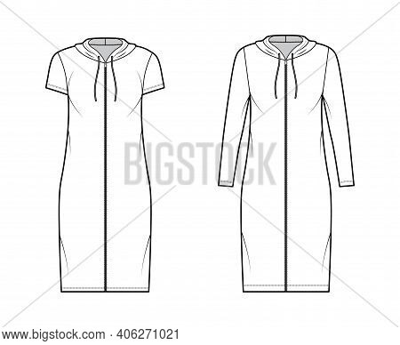 Hoodie Zip-up Dress Technical Fashion Illustration With Long, Short Sleeves, Knee Length, Oversized
