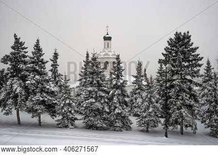 View Of The White Stone Bell Tower Of The St. John The Baptist Diocesan Monastery From The Kazan Kre