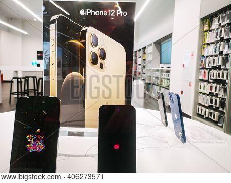 Sale Of The New Apple Iphone 12 From Apple Inc. In A Shopping Center 12.01.2021 In Russia, Kazan, St