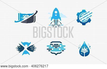 Set Of Technology Logo, Pixel Book Logo,, Fast Tech, Pixel Gear, Robotic Education, Pixel Point Logo