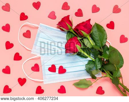 Red Roses And Disposable Medical Face Mask With Many Red Hearts On Pink Background. Mothers, Womens