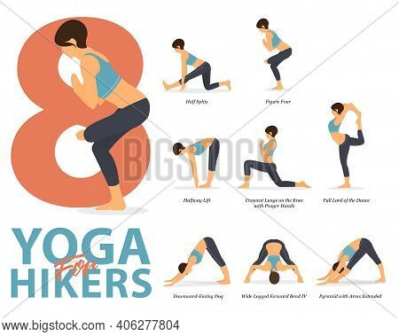 Infographic Of 8 Yoga Poses For Workout At Home In Concept Of Yoga For Hikers In Flat Design. Woman