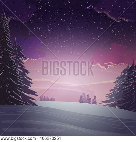 Sunset In Winter Pine Forest, Winter Landscape. Snowy Meadow With Pines Around On Background With Pu