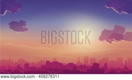 Orange Sunset And City On Horizon, Cityscape In Cartoon Style