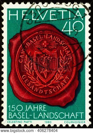 Moscow, Russia - February 02, 2021: Stamp Printed In Switzerland Shows Seal With Canton Basel Coat O