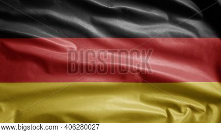 German Flag Waving In The Wind. Close Up Of Germany Banner Blowing, Soft Silk.