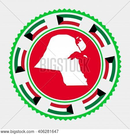 Kuwait Flat Stamp. Round Logo With Map And Flag Of Kuwait. Vector Illustration.