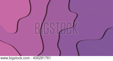 Purple Paper Cut Background. Paper Art Cartoon Abstract Waves. Smooth Origami Art Shape Paper Cut.ve