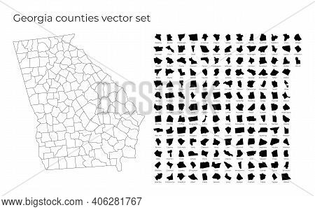 Georgia Map With Shapes Of Regions. Blank Vector Map Of The Us State With Counties. Borders Of The U