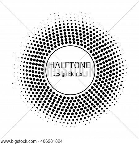 Halftone Circles. Halftone Dots Circle Gradient. Halftone Design Elements. Vector Illustration.