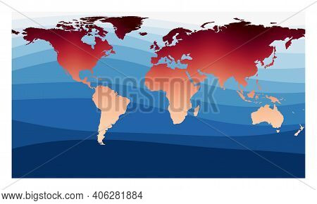 World Map Vector. Patterson Cylindrical Projection. World In Red Orange Gradient On Deep Blue Ocean