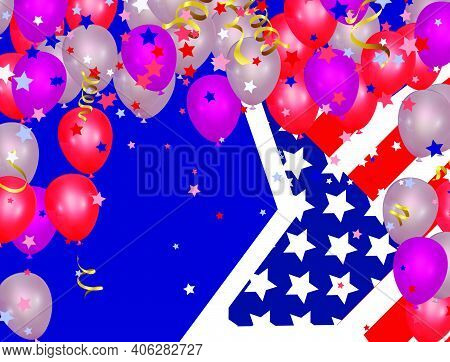 Presidents Day Sale, Party Banner With Balloons Background. Happy President's Day Sale Banner
