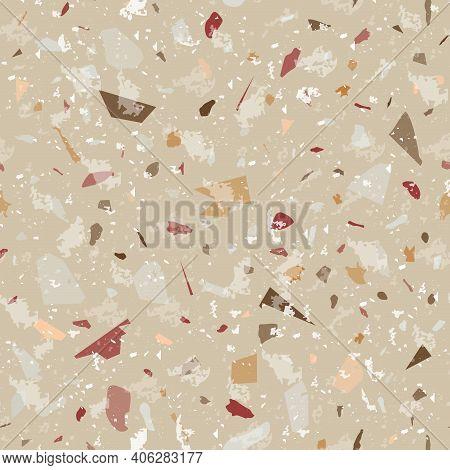 Terrazzo Seamless Pattern. Earthy Classic Flooring