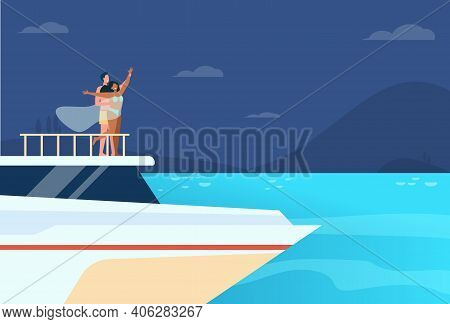 Happy Young Couple Having Fun On Yacht. Guy And Girl On Snout Of Ship, Boat Or Liner. Flat Vector Il