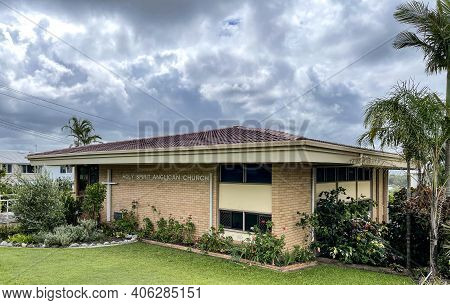 Coolum, Australia - January 10, 2021: Modern Anglican Church Built In The Sixties Of The 20th Centur