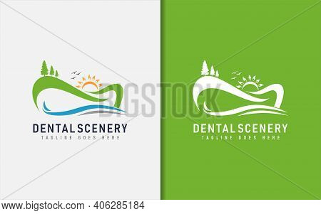 Dental Scenery Logo Design. Abstract Scenery With A Tooth-shaped Mountain. Medical Vector Logo Illus