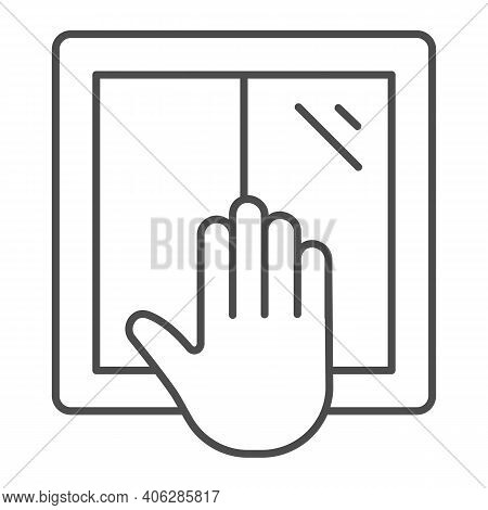 Window And Hand Thin Line Icon, Labour Day Concept, Window Installation Sign On White Background, Wo