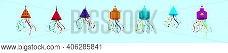 Set Of Party Popper Cartoon Icon Design Template With Various Models. Modern Vector Illustration Iso