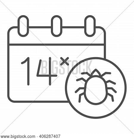 Calendar And Parasite Insect Thin Line Icon, Pest Control Concept, World Pest Control Awareness Day