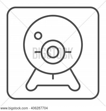 Webcam Thin Line Icon, Online Education Concept, Chat Camera Sign On White Background, Webcam For Vi