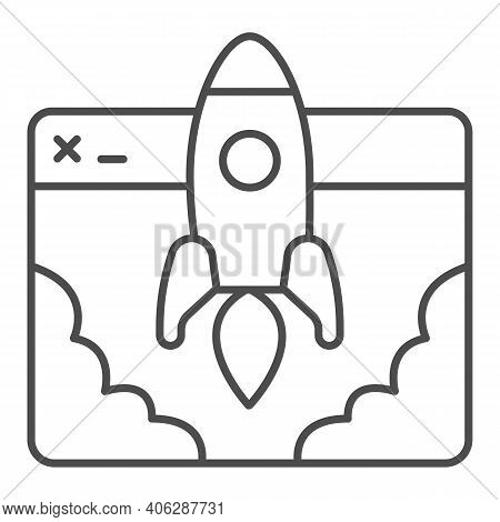 Website And Rocket Launch Thin Line Icon, Startup Concept, Site Launch Sign On White Background, Roc
