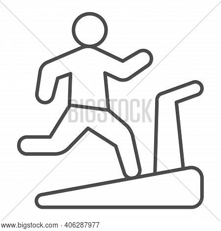Man On Treadmill Thin Line Icon, Diet Concept, Exercise Machine Sign On White Background, Man Runnin