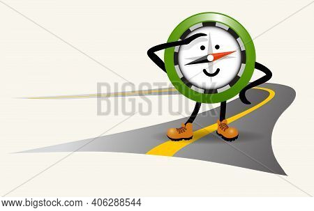 Cute Navigational Compass Character Standing On A Road In Hiking Boots. For Travel, Adventure, Hikin