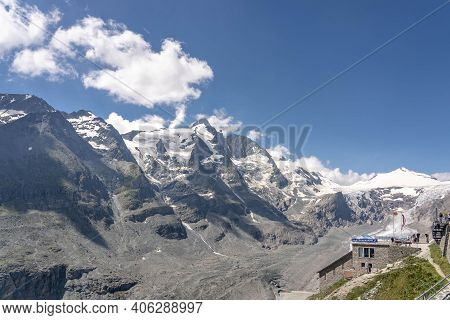 Grossglockner, Austria - Aug 8, 2020: Summit Glacer View With Glacier Train Station In Summer