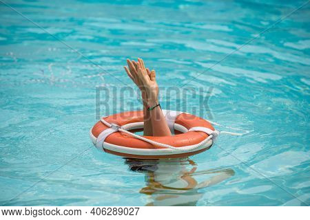 Lifebuoy Help To Survive Concept. Support Survival Or Save, Rescue. Ring Floating In A Sea, Life Pre