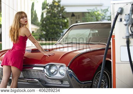 Gas Station Girl. Woman Refuel The Car. American Red Retro Automobile