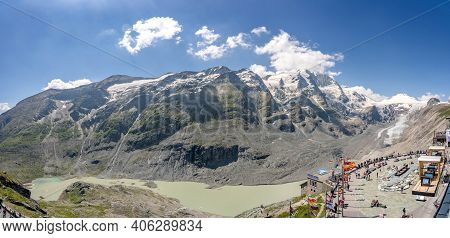 Grossglockner, Austria - Aug 8, 2020: Panoramic View Of Kaiser Franz Josefs Viewpoint With Summit Gl