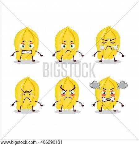 Carambola Cartoon Character With Various Angry Expressions