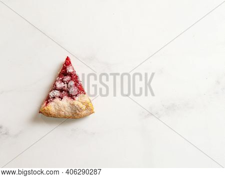 Perfect Slice Of Raspberry Galette. Delicious Rustic Homemade Tart With Frozen Or Fresh Raspberries,