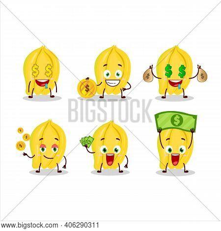 Carambola Cartoon Character With Cute Emoticon Bring Money