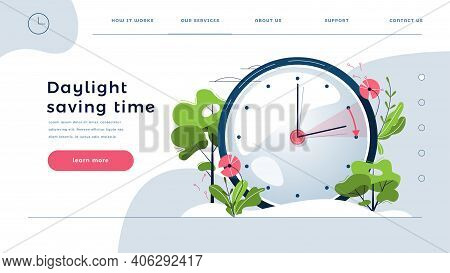 Daylight Saving Time Web Template. The Clocks Moves Forward One Hour. Floral Landscape With Text Spr
