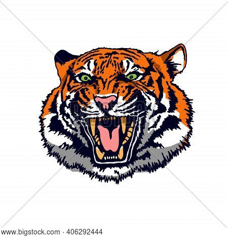 Angry Tiger Face. The Grin Of A Tiger. Detailed Drawing Of A Tiger. The Symbol Of The New 2022. Vect