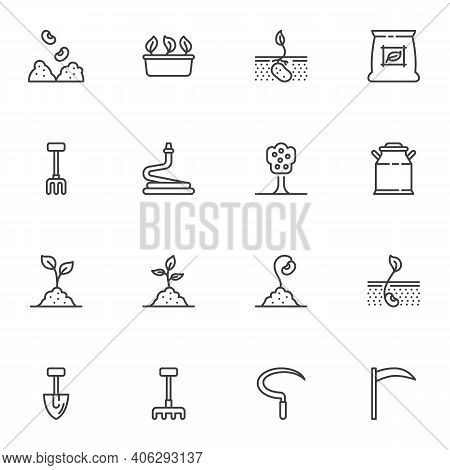 Agriculture, Farming Line Icons Set, Outline Vector Symbol Collection, Linear Style Pictogram Pack.
