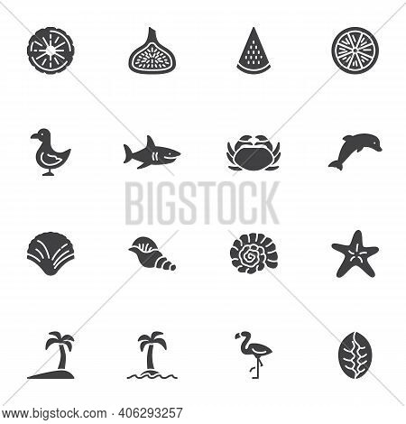 Summer Related Vector Icons Set, Modern Solid Symbol Collection, Filled Style Pictogram Pack. Signs,