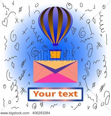 Balloon With Basket. Striped Balloon Dome. Aerostat Flies With Letter. Banner For Text Under Mail En