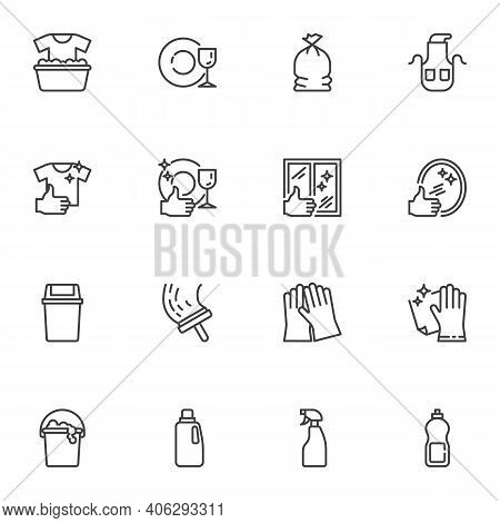 Maid And Cleaning Service Line Icons Set, Outline Vector Symbol Collection, Linear Style Pictogram P