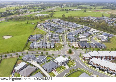 Aerial View Of Grey Roofed Houses In The Suburb Of Glenmore Park In New South Wales In Australia