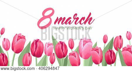 Happy Women's Day Card. Vector Web Banner, Poster, Flyer, Greeting For Social Media With Text 8 Marc
