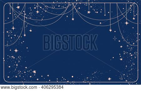Blue Magic Background With Stars And Space Decor With Copy Space. Layout For Astrology, Tarot, Predi