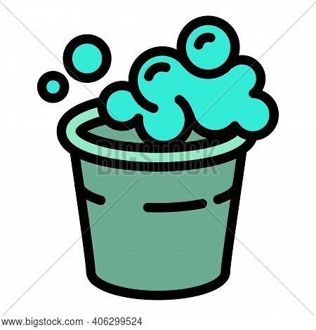 Foam Bubble Bucket Icon. Outline Foam Bubble Bucket Vector Icon For Web Design Isolated On White Bac