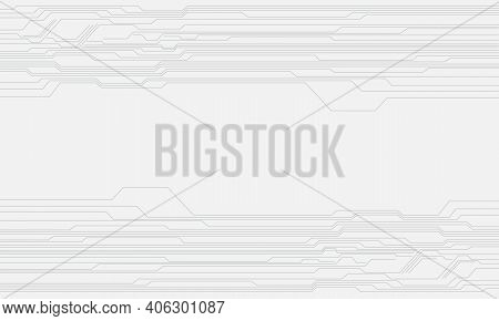 Abstract Grey Circuit Line Cyber Pattern On White With Blank Space Technology Futuristic Background
